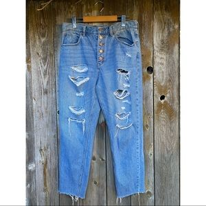 FREE PEOPLE distressed high rise button fly jeans